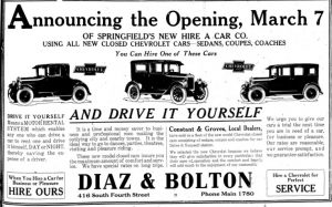 Advertisement for Diaz & Bolton, Illinois State Journal, 1925 (courtesy State Journal-Register)