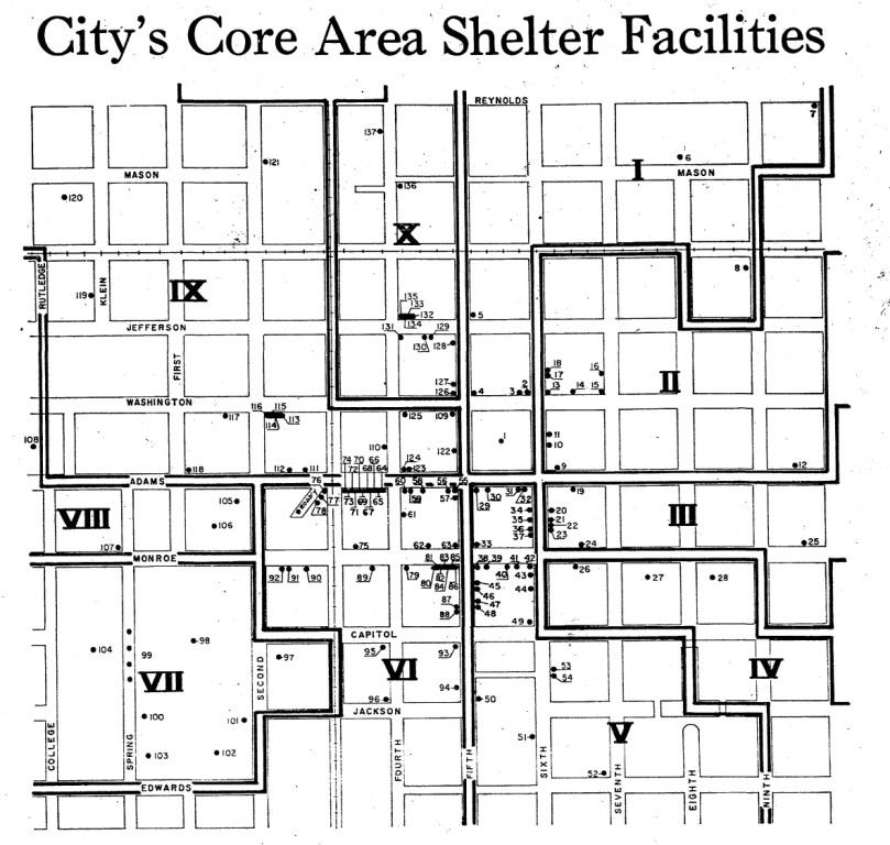 The Illinois State Journal listed all approved fallout shelters in Sangamon County on Oct. 31, 1965. This section shows shelters in the heart of Springfield. (Courtesy State Journal-Register)