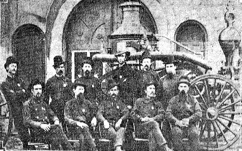 Early Springfield firefighters, probably in the 1870s. Top row, left to right: Charles Phillips, Philip Hoffman, August Miller, Fire Chief Richard Young, Chris Decker, John Freeman. Bottom, Robert Peel, Henry Miller, Oscar Phillips, Evan T. Jones, Thomas Dunn. Freeman later served twice as fire chief; he died while fighting a fire at the Chicago World's Fair on July 10, 1893. Peel was the first man hired as a salaried, full-time Springfield firefighter in 1869. (Courtesy State Journal-Register)