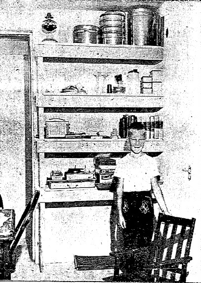 Third-grader Larry Sapp in the Sapp family's basement shelter in 1961. The shelter had 12-inch-thick concrete walls and piped-in well water and held two weeks worth of supplies. (Courtesy SJ-R)