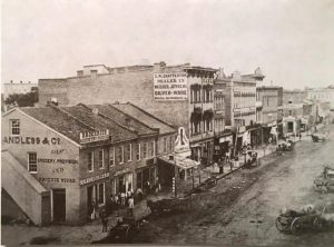 Rebuilt west side of the Springfield square, 1859 (Sangamon Valley Collection)