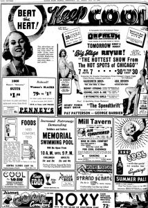 "Full page of ""Beat the Heat ads, July 10, 1936 Illinois State Journal (Courtesy SJ-R)"