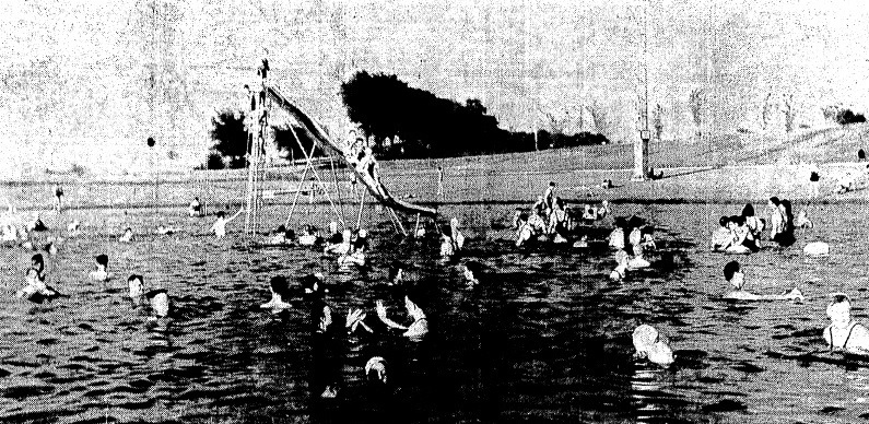 Some 2,200 people thronged Lake Springfield Beach on July 9, 1936. (Courtesy State Journal-Register)