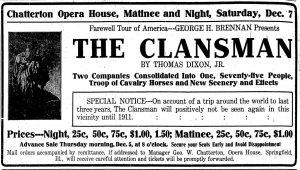 Ad for The Clansman, published in the Dec. 7, 1907 Illinois State Register (courtesy State Journal-Register)
