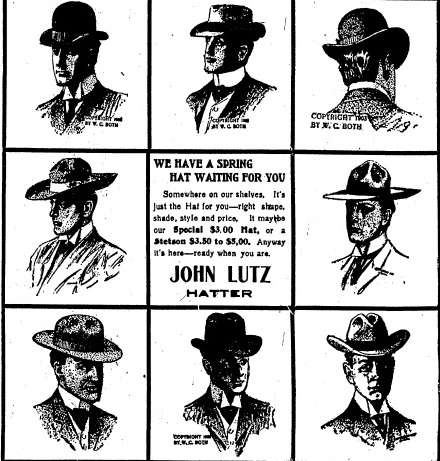 John Lutz Hatter advertisement, May 4, 1904 Illinois State Journal (courtesy State Journal-Register)