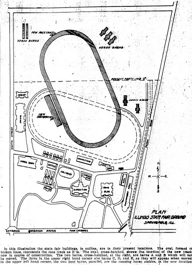 1926 map of fairgrounds redesign plans; note road outlines, bottom left quarter (courtesy State Journal-Register)