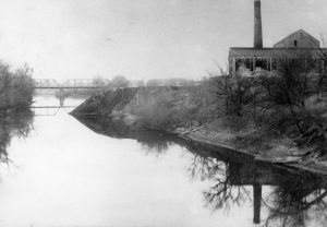 The Columbia Paper Mill overlooked the Sangamon River near Riverton for decades. The site also had held a lumber mill, furniture factory and distillery, The paper mill was demolished in 1903, and an electric railway power plant built there. (Sangamon Valley Collection)