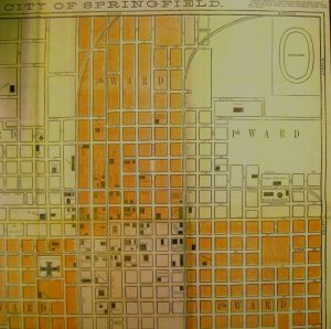 """The oval labeled """"Driving Park,"""" top right corner of the 1877 map, is the approximate location of the Great National Horse Show of 1865. The area was used for horse racing and demonstrations for a decade or more. (SVC)"""