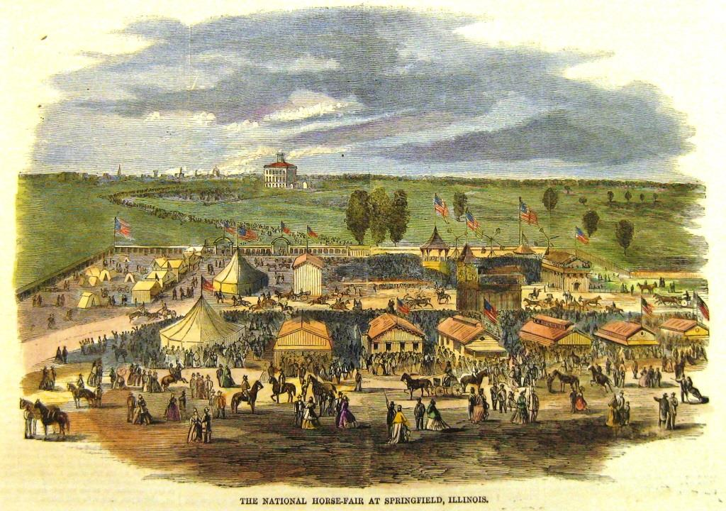 The Great National Horse Show in progress, as shown in Harper's Weekly edition of Oct. 7, 1865. The building at center left is Illinois State University (not related to today's ISU); the built-up area of Springfield is on the left horizon. (angamon Valley Collection)