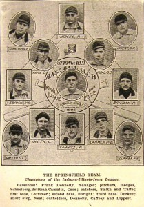 "Springfield Senators, 1905; player-manager Frank Donnelly in center. (Center text says ""Champions for 1905,"" but the Senators actually finished third in the league that year.) (Sangamon Valley Collection)"